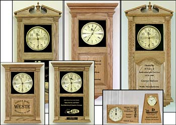 corporate logo clocks and retirement awards clocks