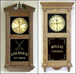 Etched Golf Gift and Etched Golf Themed clock