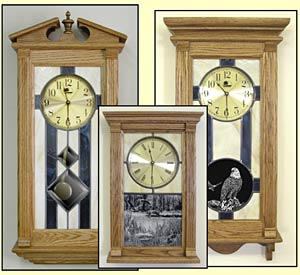 Stained Glass Oak Clocks