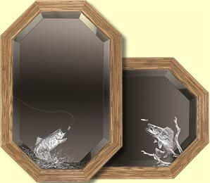 Etched Fisherman Mirror