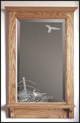 wildlife etched mirror and mirrors with pheasants